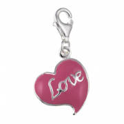 Sterling Silver Clip-on Pink enameled love heart Charm